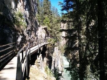 Walking through Johnston Canyon.